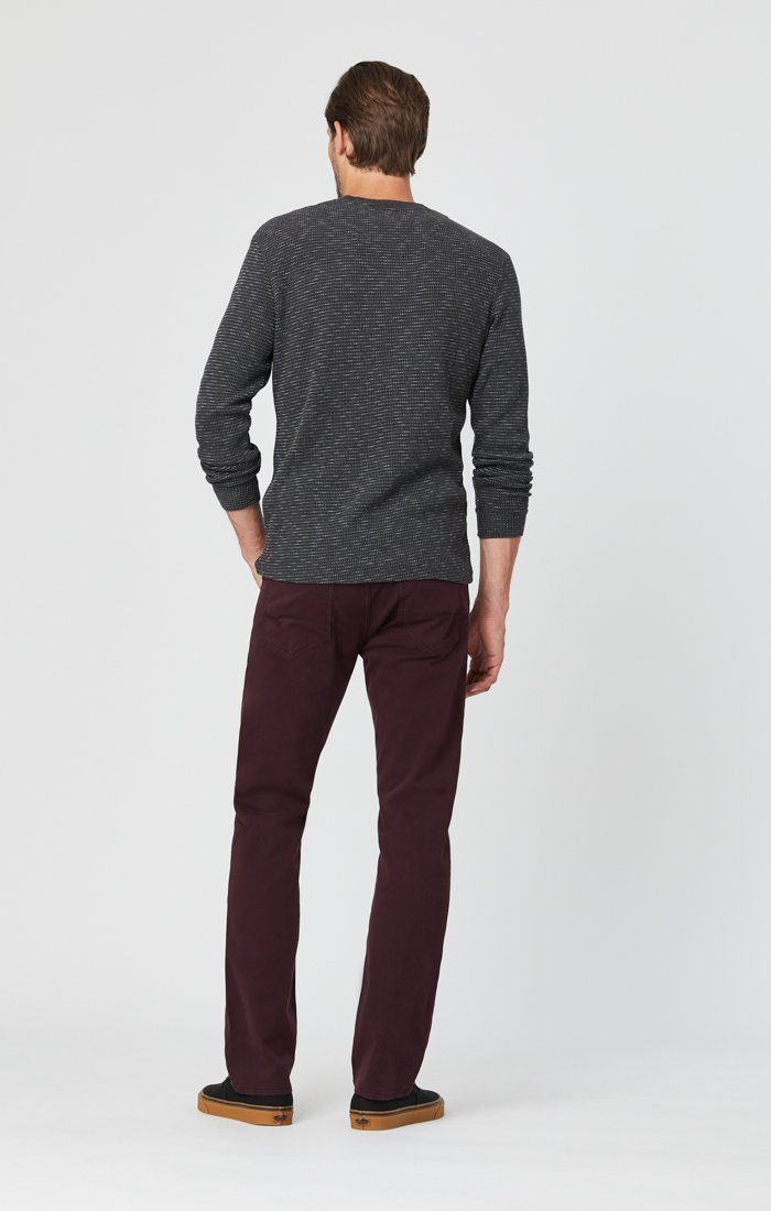 ZACH STRAIGHT LEG PANTS IN BURGUNDY SATEEN Image 4