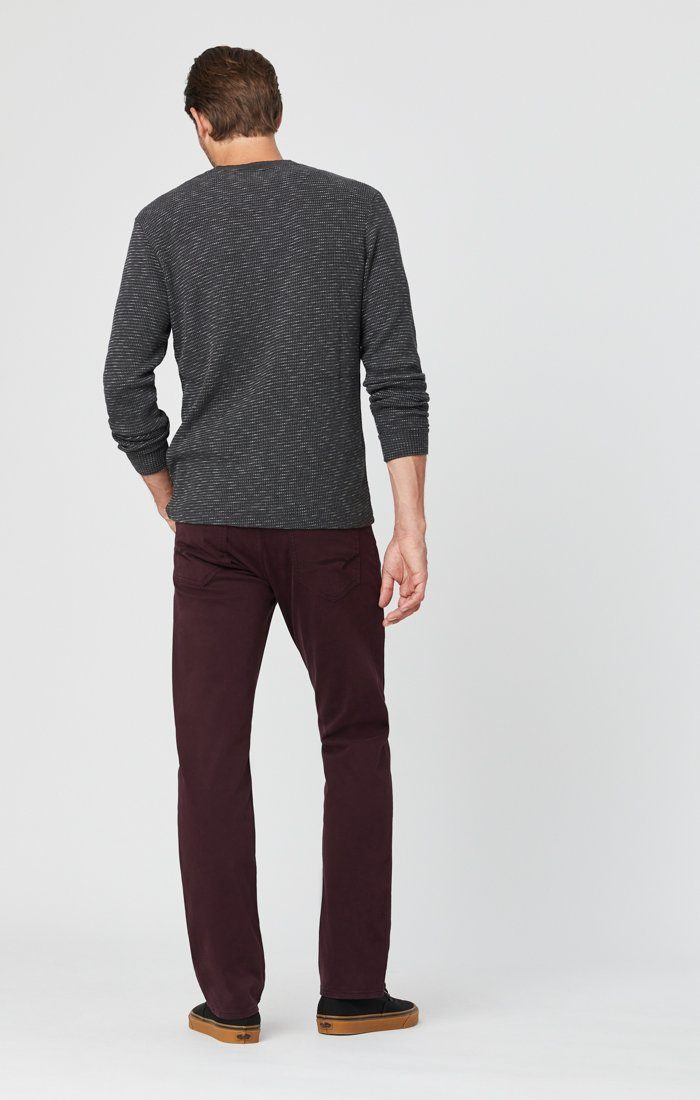 ZACH STRAIGHT LEG PANTS IN BURGUNDY SATEEN Image 5