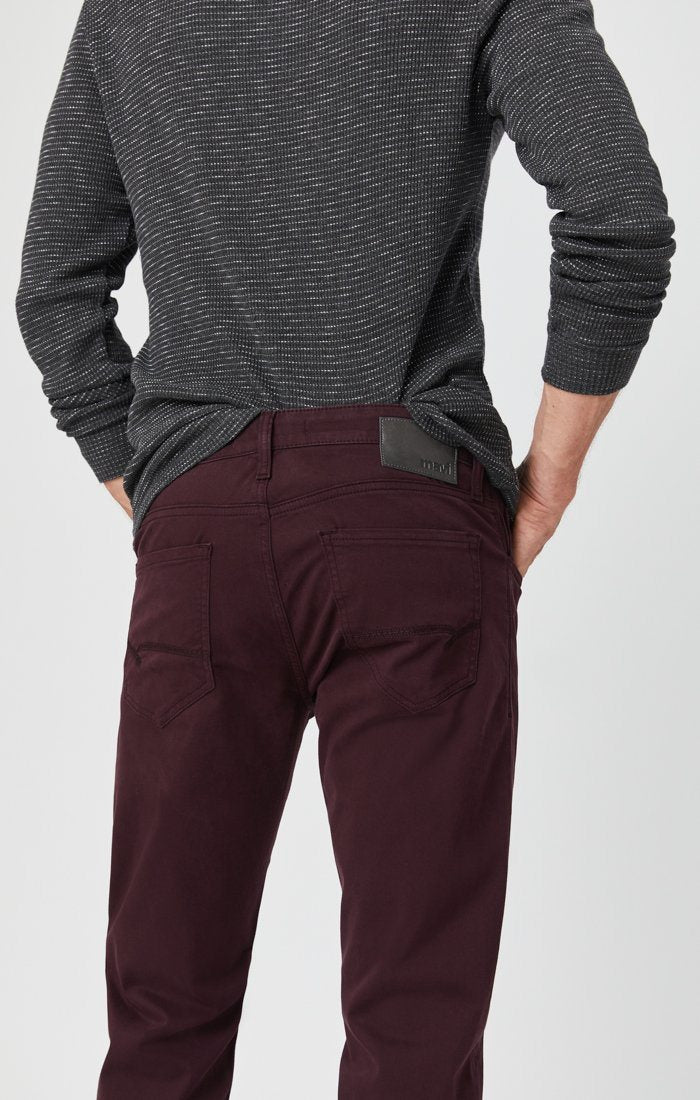 ZACH STRAIGHT LEG PANTS IN BURGUNDY SATEEN Image 6