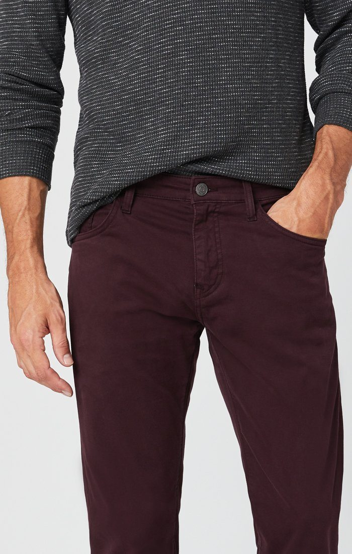 ZACH STRAIGHT LEG PANTS IN BURGUNDY SATEEN Image 7