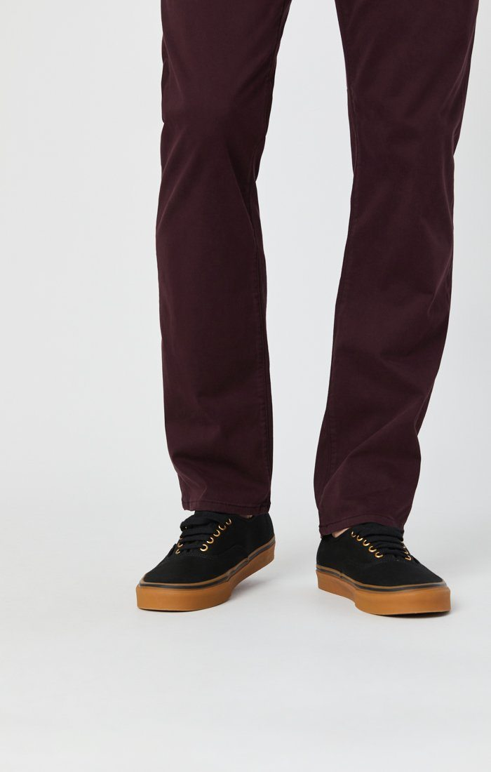 ZACH STRAIGHT LEG PANTS IN BURGUNDY SATEEN Image 8