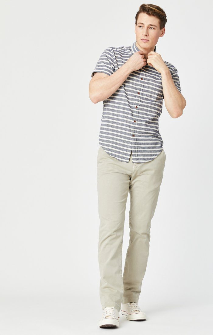 EDWARD SLIM STRAIGHT CHINO IN STONE GREY SATEEN TWILL Image 1
