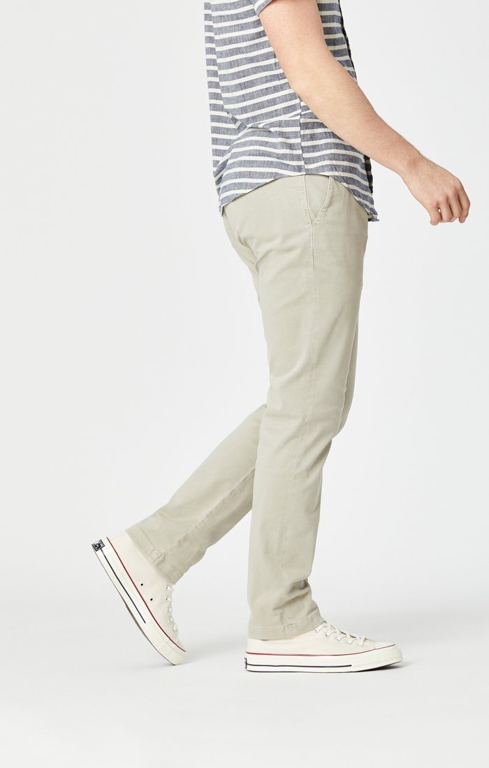 EDWARD SLIM STRAIGHT CHINO IN STONE GREY SATEEN TWILL Image 2
