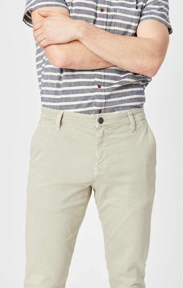 EDWARD SLIM STRAIGHT CHINO IN STONE GREY SATEEN TWILL Image 5
