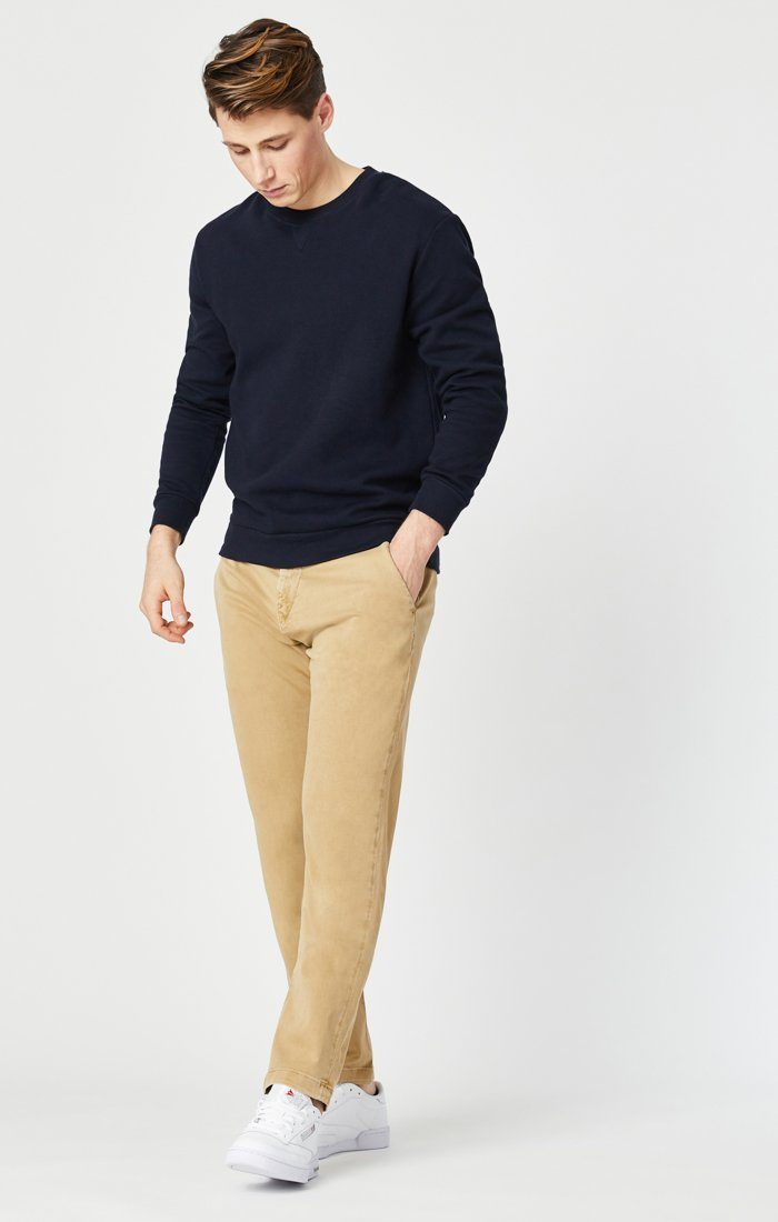 EDWARD SLIM STRAIGHT CHINO IN LATTE SATEEN TWILL Image 2