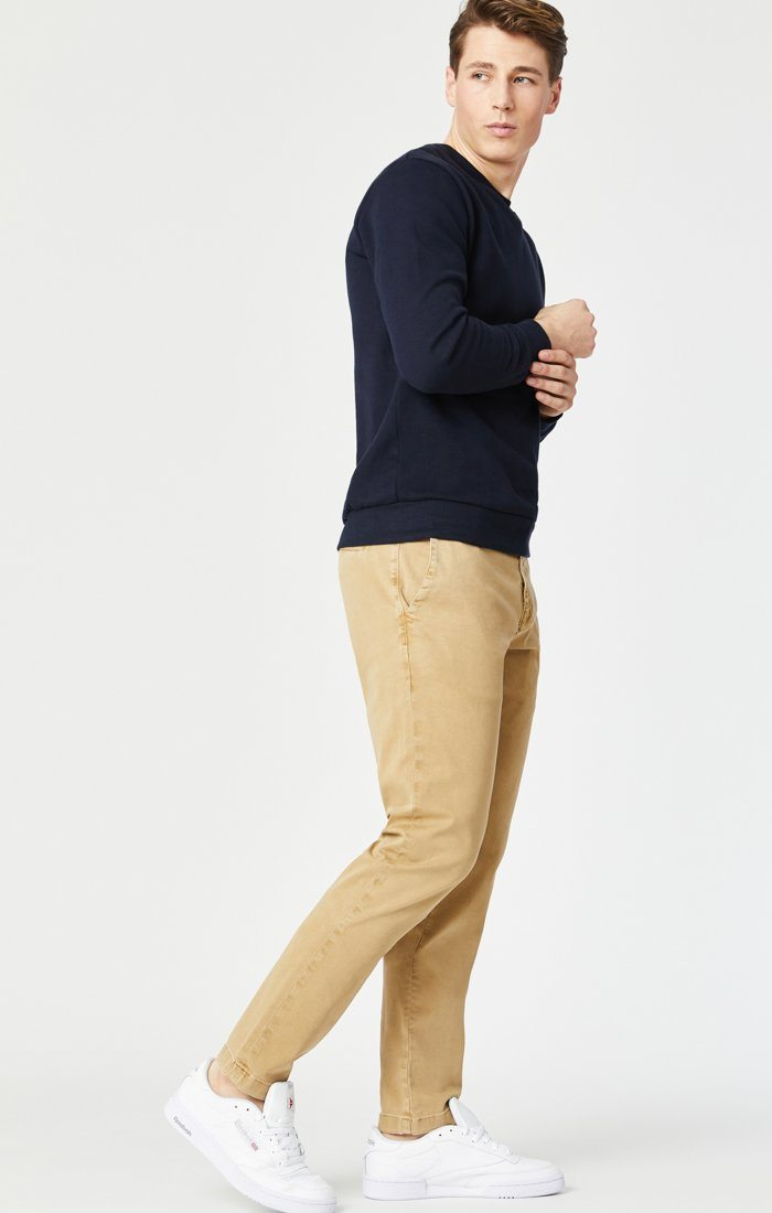 EDWARD SLIM STRAIGHT CHINO IN LATTE SATEEN TWILL Image 1