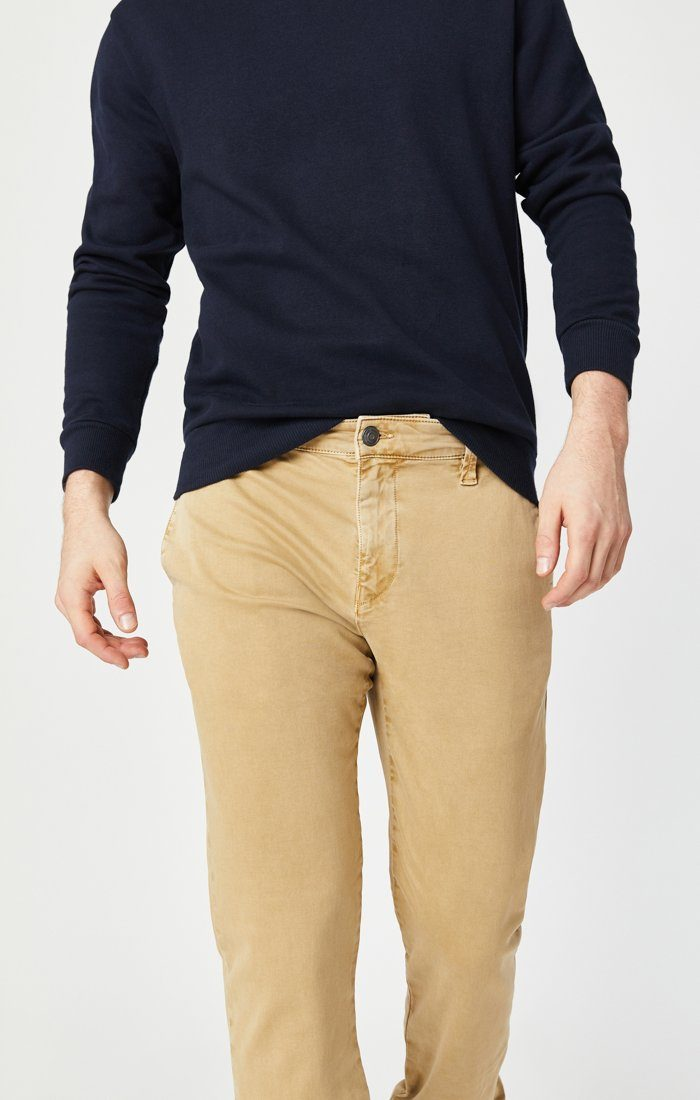 EDWARD SLIM STRAIGHT CHINO IN LATTE SATEEN TWILL Image 7