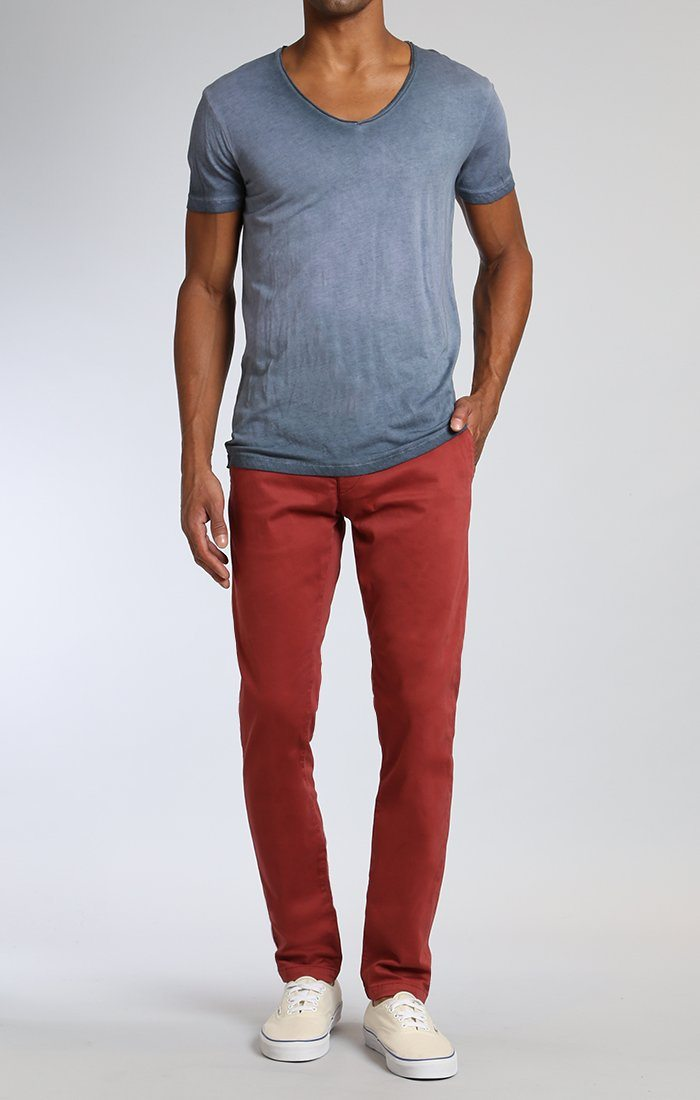 JOHNNY SLIM LEG CHINO IN ROSE WOOD TWILL