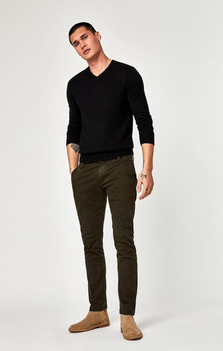 JOHNNY SLIM CHINO IN DARK GREEN TWILL