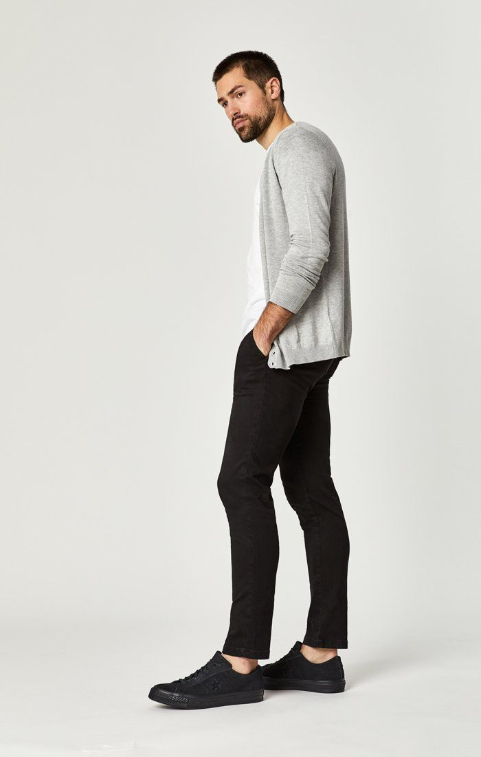 JOHNNY SLIM CHINO IN BLACK SATEEN TWILL - Mavi Jeans