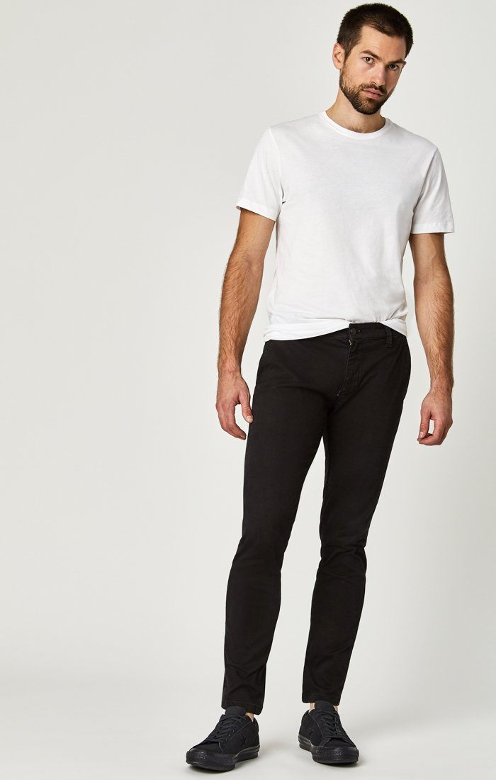 JOHNNY SLIM CHINO IN BLACK SATEEN TWILL Image 2