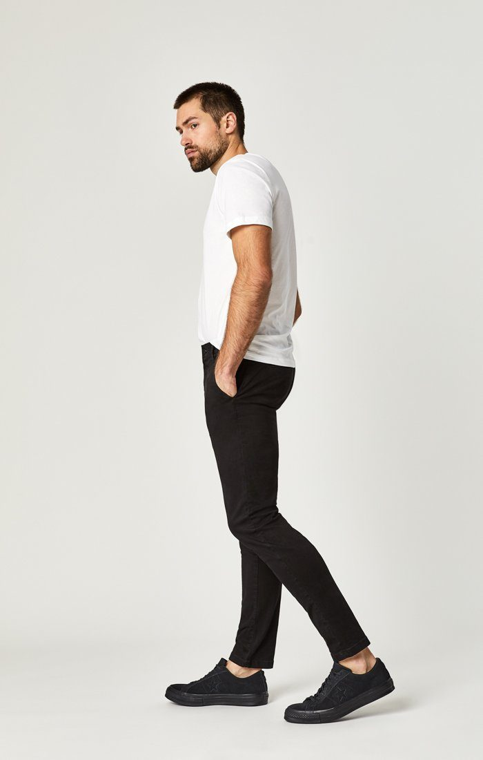 JOHNNY SLIM CHINO IN BLACK SATEEN TWILL Image 3