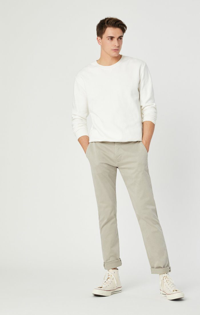 JOHNNY SLIM CHINO IN STONE GREY SATEEN Image 4
