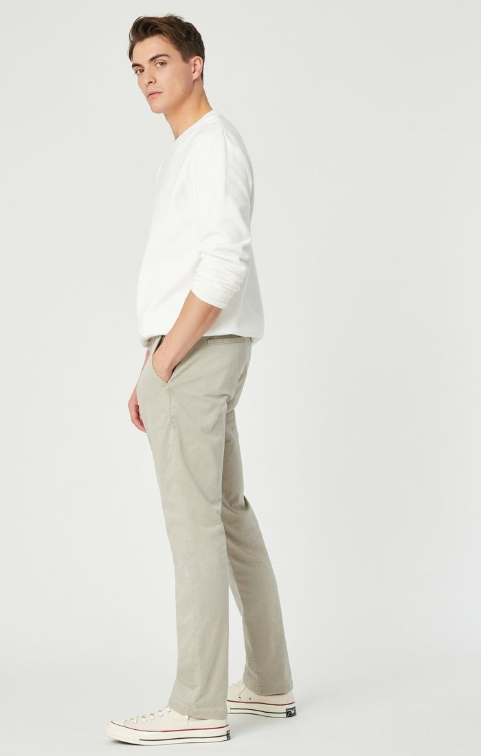 JOHNNY SLIM CHINO IN STONE GREY SATEEN Image 2