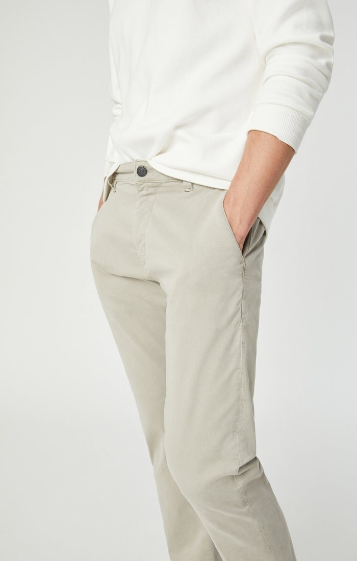 JOHNNY SLIM CHINO IN STONE GREY SATEEN Image 5