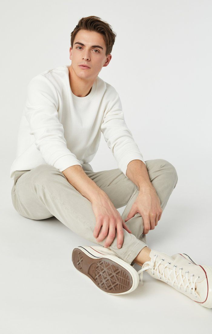 JOHNNY SLIM CHINO IN STONE GREY SATEEN Image 3