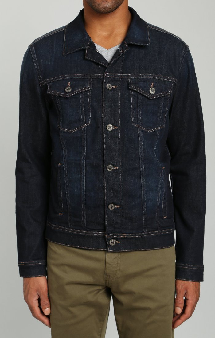 FRANK JACKET IN RINSE BRUSHED WILLIAMSBURG