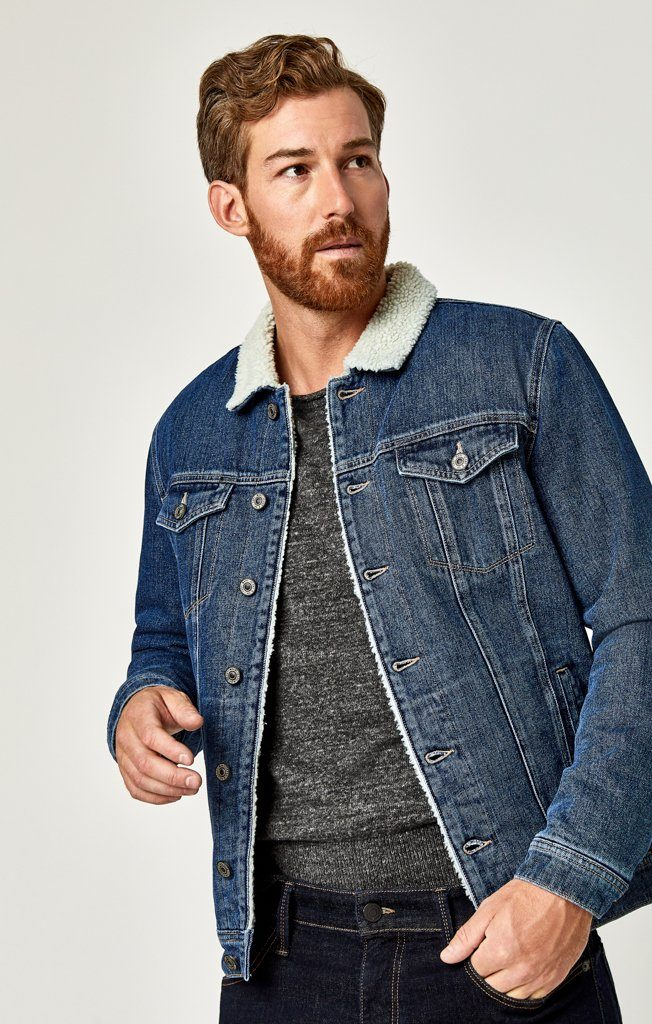 FRANK JACKET IN DARK SHERPA - Mavi Jeans