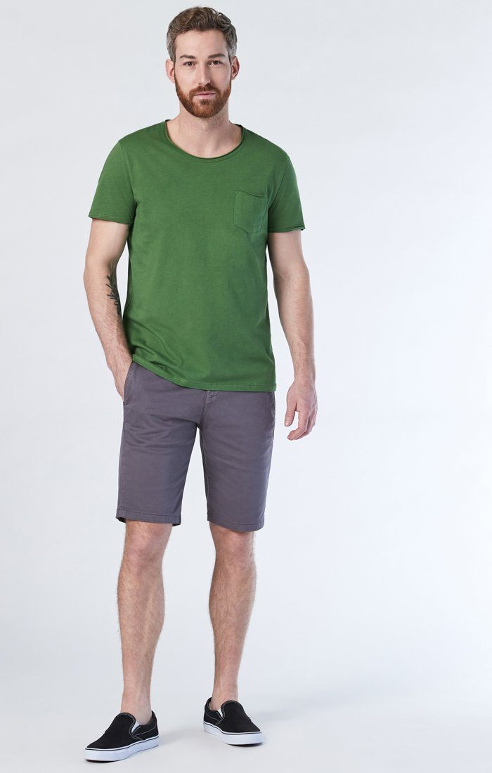 MIKE SHORTS IN STONE GREY TWILL Image 1