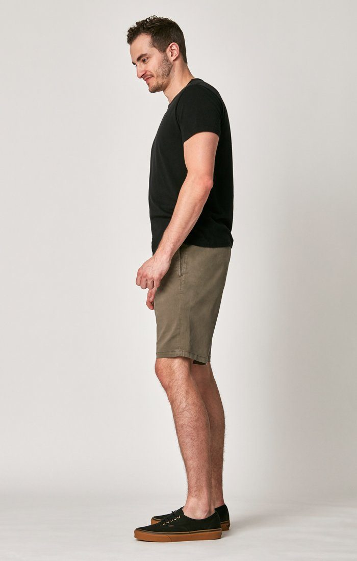 MATTEO SHORTS IN DUSTY OLIVE SATEEN TWILL Image 2