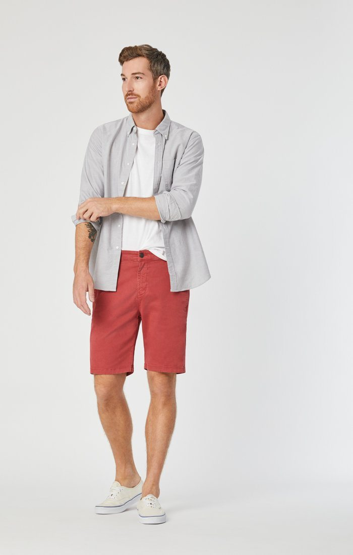 Mavi Men's Matteo Short In Brick Sateen Twill