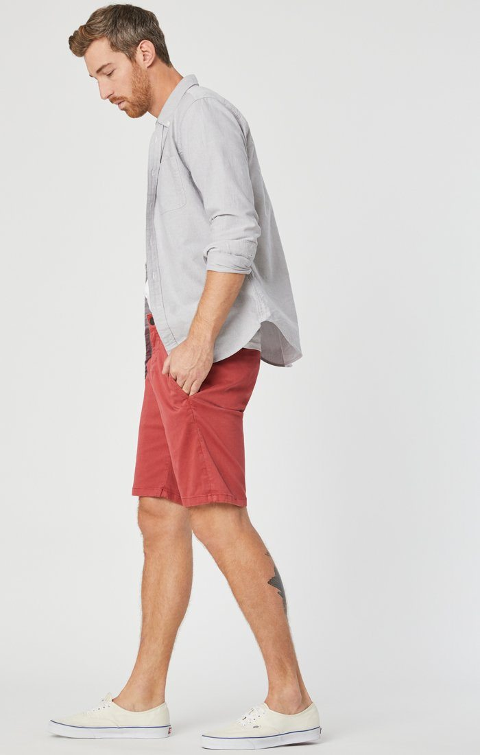 JACOB SHORTS IN BRICK SATEEN Image 1