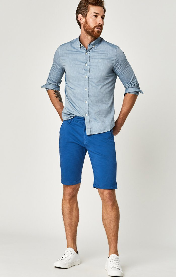 JACOB SHORTS IN BRIGHT COBALT SATEEN TWILL Image 1