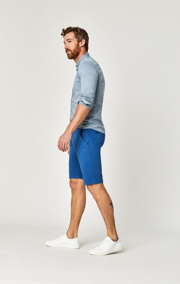 JACOB SHORTS IN BRIGHT COBALT SATEEN TWILL - Mavi Jeans