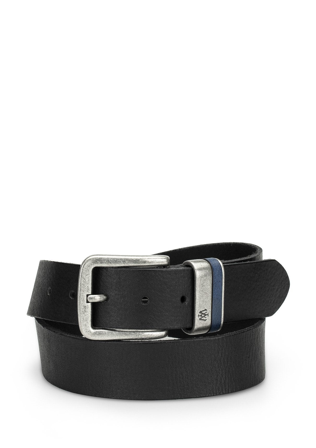 Black Leather Belt with Silver Buckle Image 1