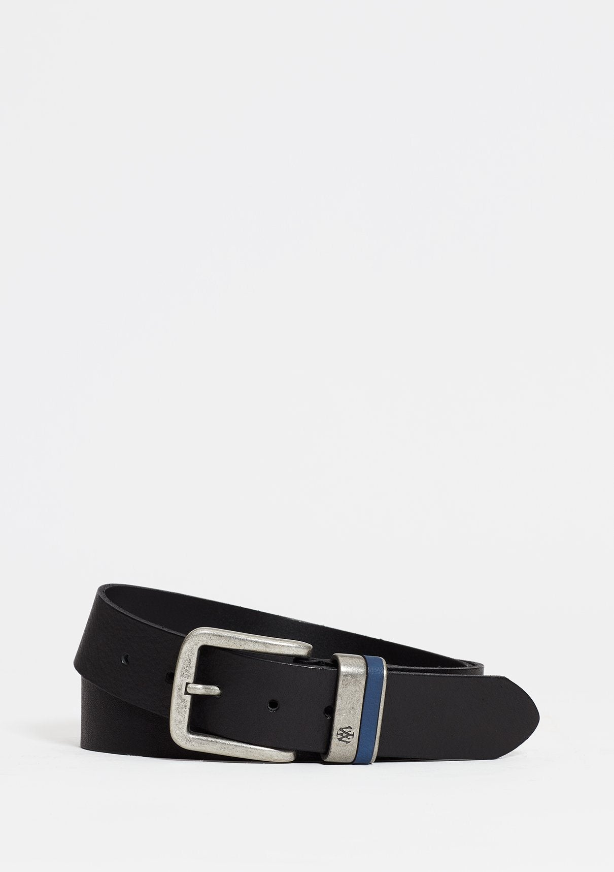 Black Leather Belt with Silver Buckle Image 7