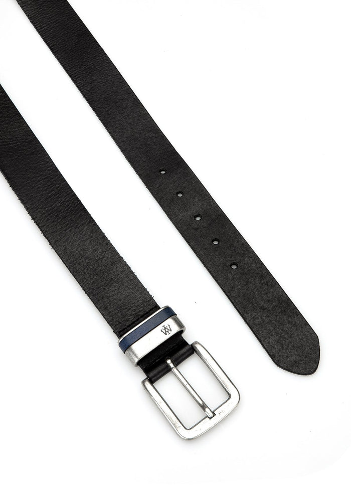 Black Leather Belt with Silver Buckle - Mavi Jeans