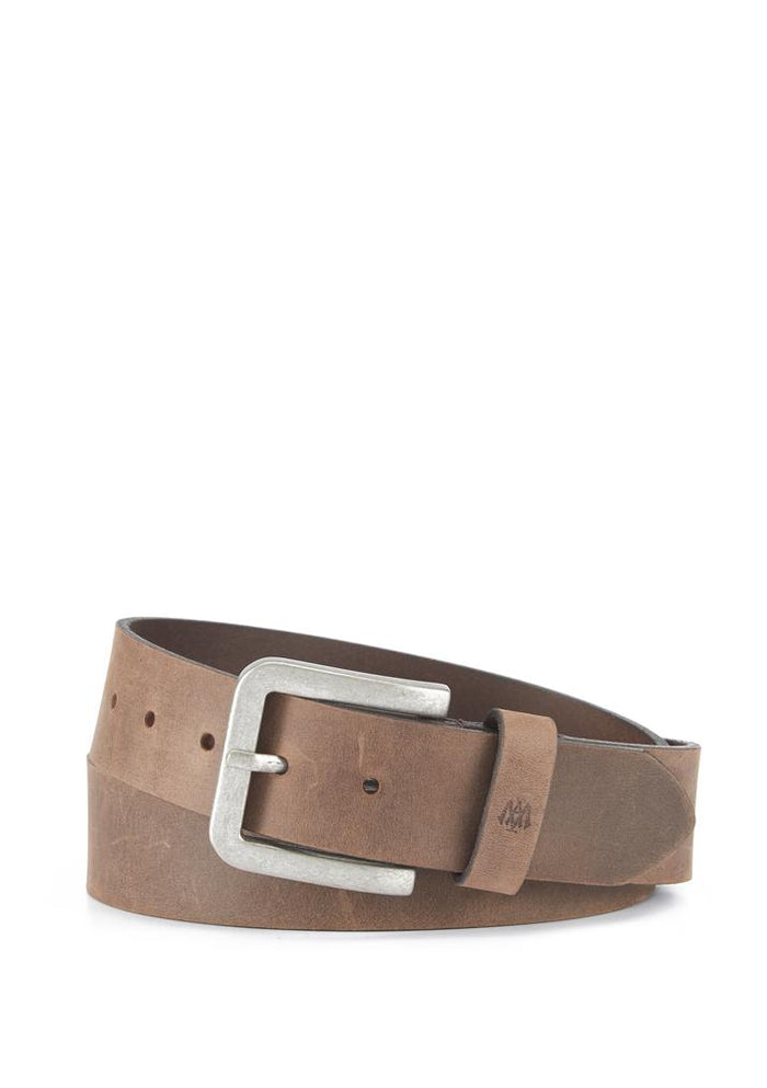 Brown Leather Belt with Silver Buckle - Mavi Jeans