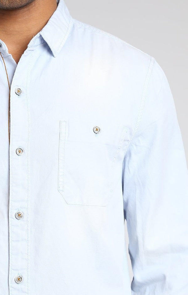 DOBBY FITTED SHIRT IN SKY BLUE - Mavi Jeans