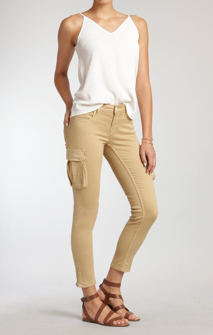 JULIETTE SKINNY CARGO IN SAFARI SATEEN