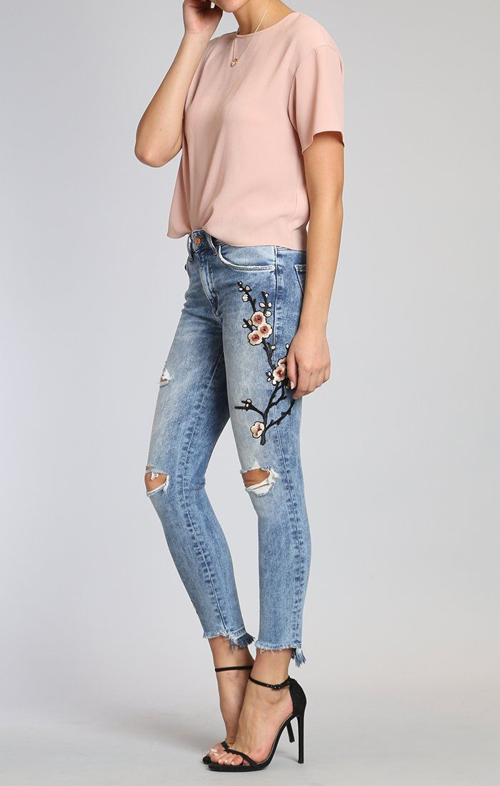 TESS SUPER SKINNY IN MID JAPANESE EMBROIDERY ...