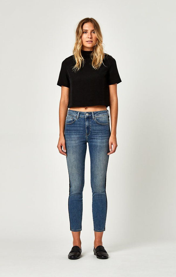 TESS SUPER SKINNY IN BLACK VELVET STRIPE - Mavi Jeans