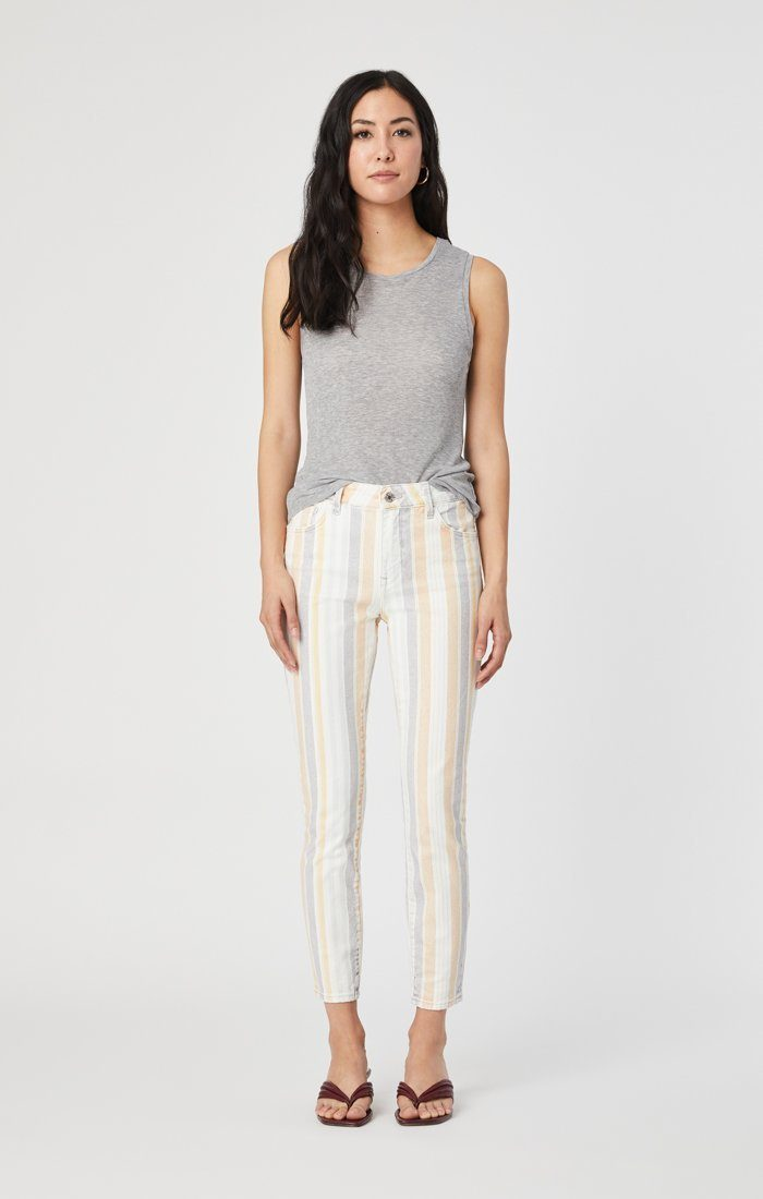 TESS SUPER SKINNY JEANS IN SPRING STRIPE STRETCH Image 8
