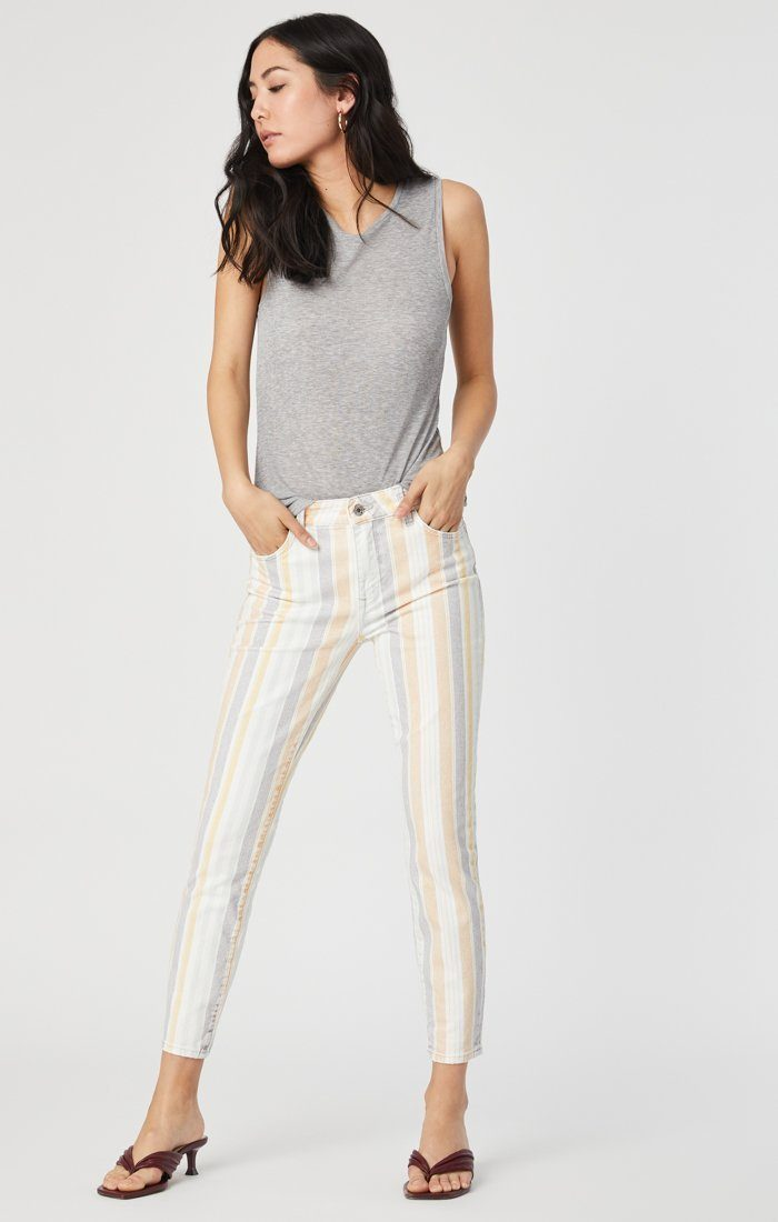 TESS SUPER SKINNY JEANS IN SPRING STRIPE STRETCH Image 6
