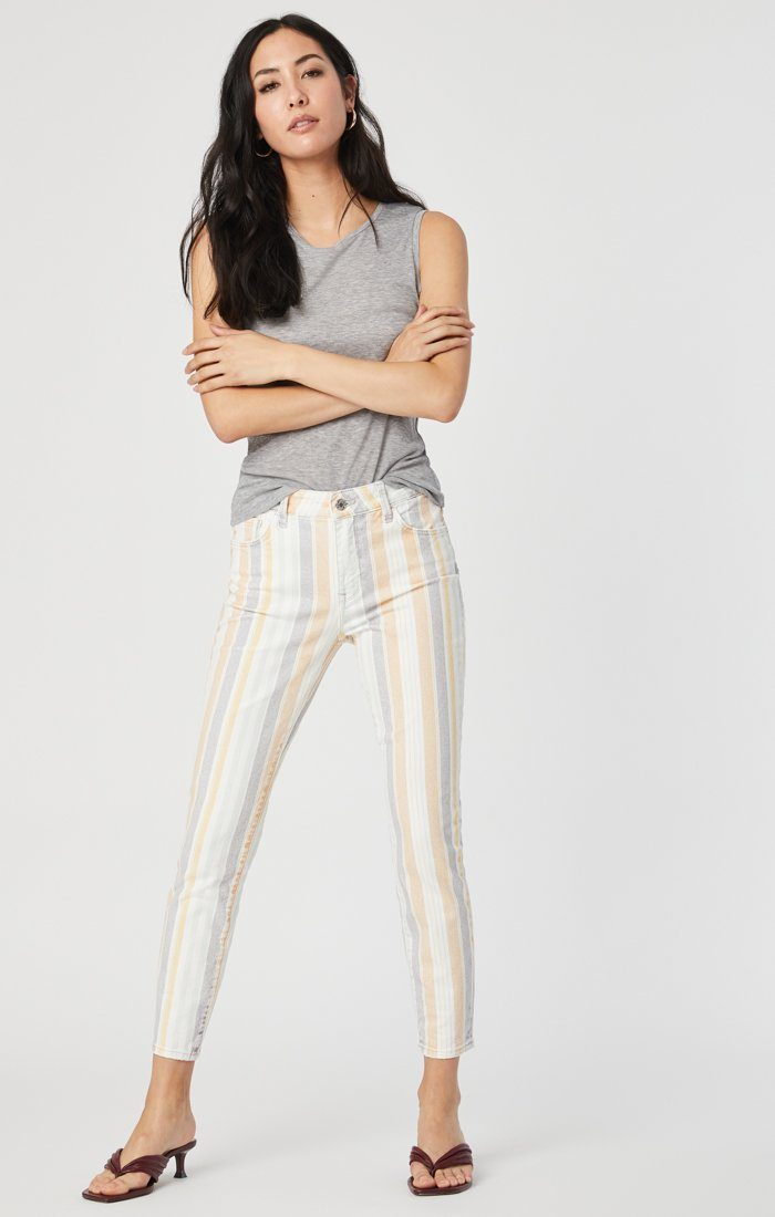 TESS SUPER SKINNY JEANS IN SPRING STRIPE STRETCH Image 2
