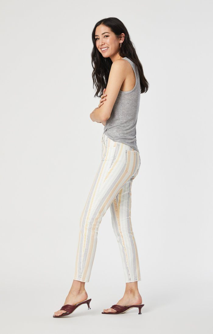 TESS SUPER SKINNY JEANS IN SPRING STRIPE STRETCH Image 3