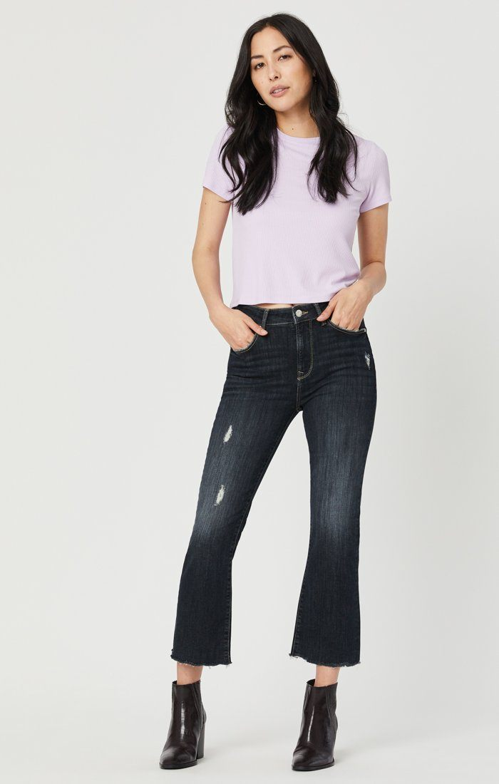ANIKA CROP FLARE JEANS IN SMOKY RIPPED VINTAGE Image 8