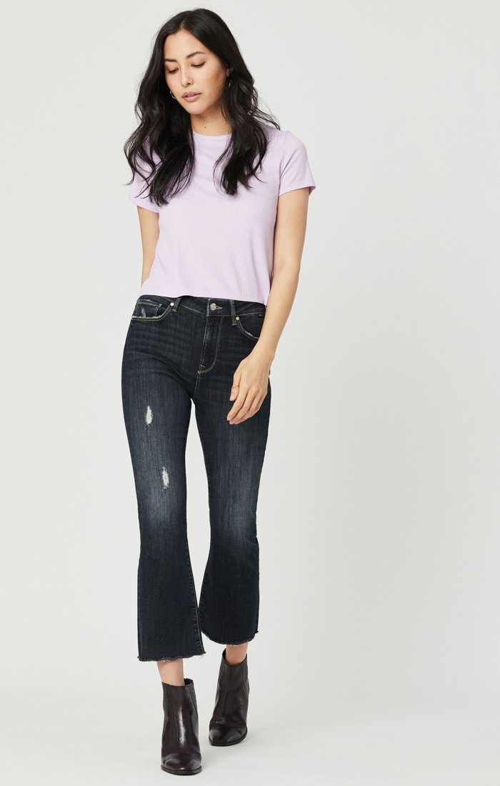 ANIKA CROP FLARE JEANS IN SMOKY RIPPED VINTAGE Image 2