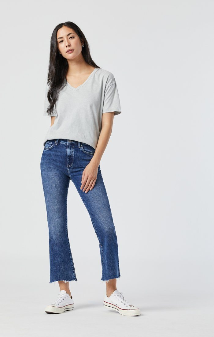 ANIKA CROP FLARE IN INDIGO DESTROYED HEM ORGANIC BLUE Image 1