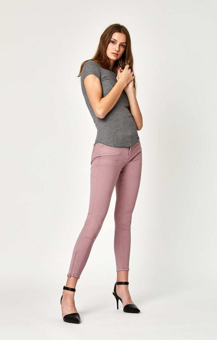 ADRIANA ANKLE ZIP SKINNY IN LT ROSE TWILL