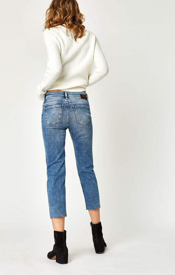 NIKI STRAIGHT CROP IN LT RIPPED VINTAGE - Mavi Jeans