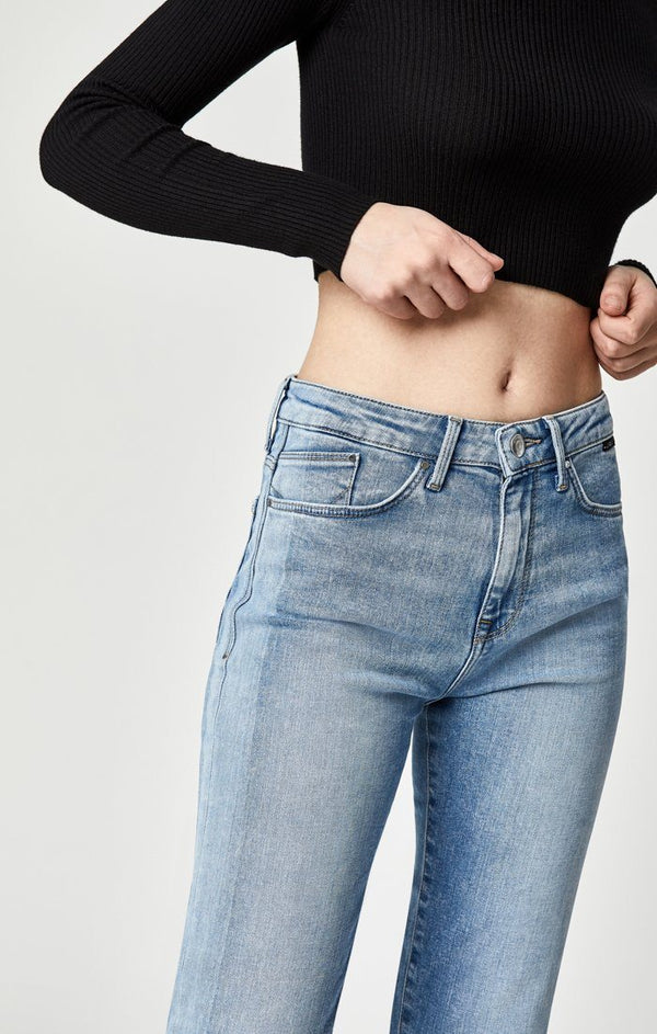 NIKI STRAIGHT CROP IN LT BLUE BLOCKING - Mavi Jeans