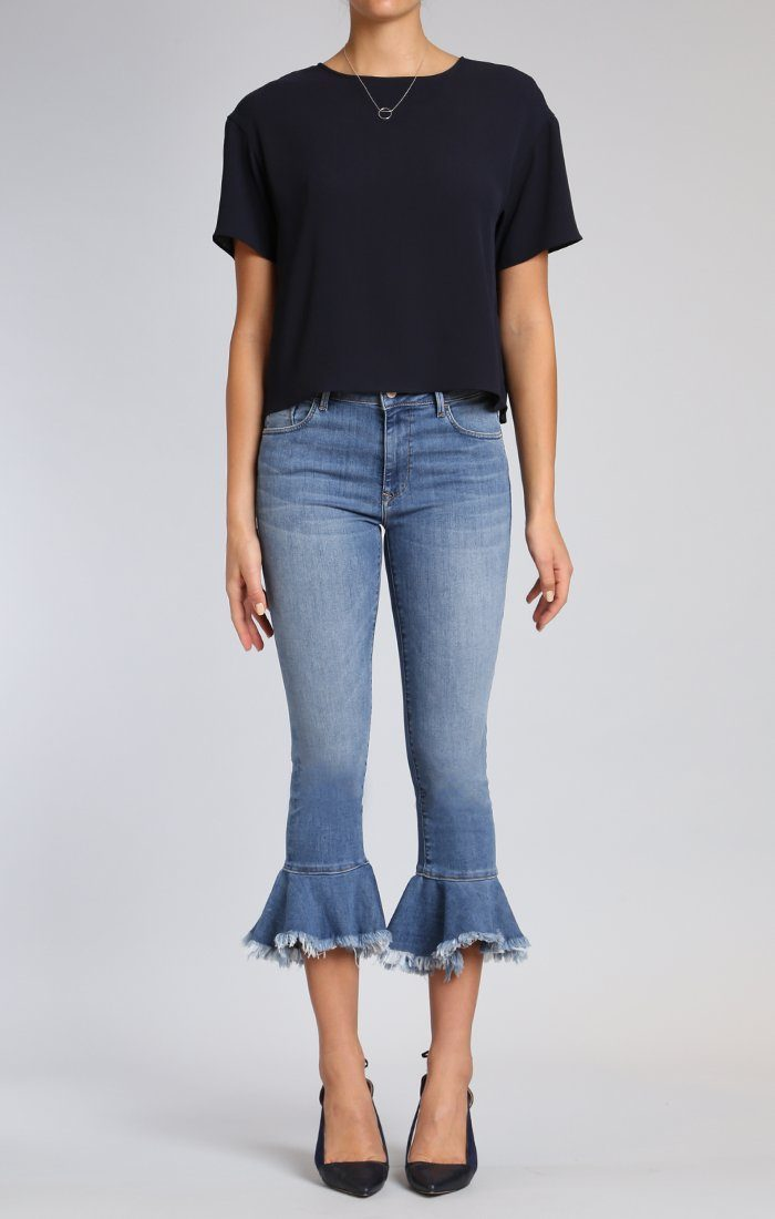 TESSA RUFFLE HEM SKINNY IN MID BRUSHED CHEEKY