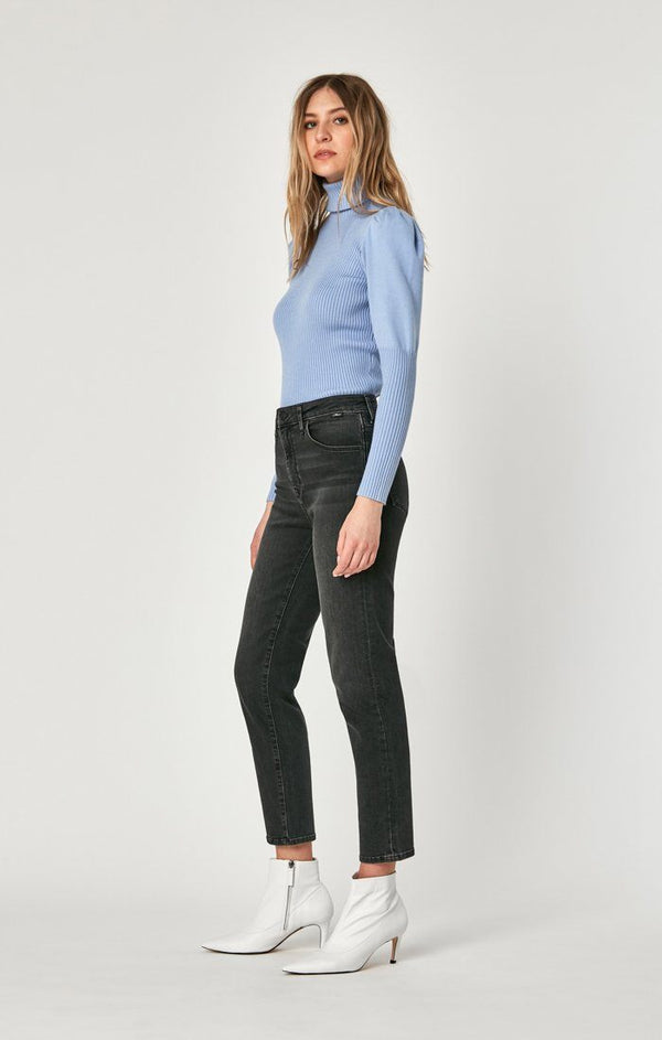 LEA STRAIGHT CROP IN DARK GREY VINTAGE - Mavi Jeans
