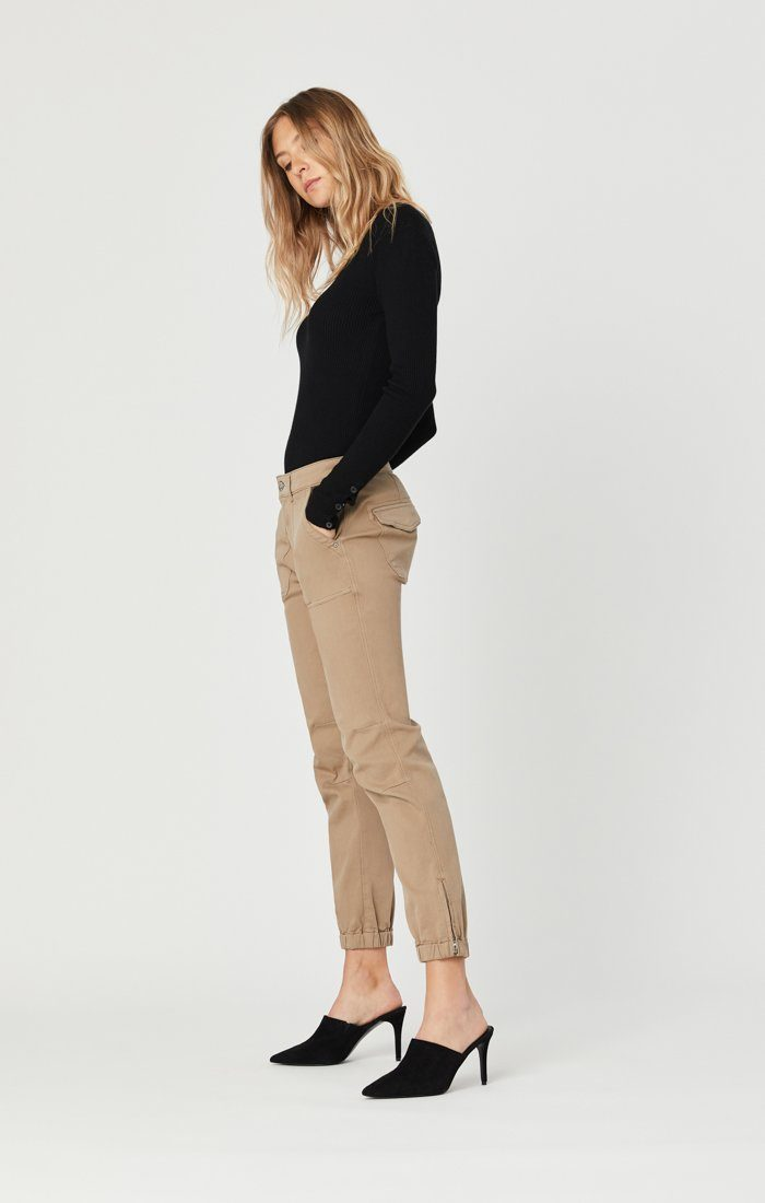 IVY SLIM CARGO PANTS IN CAPPUCCINO TWILL Image 4