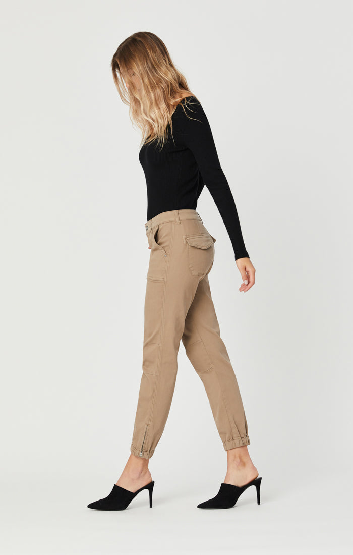 IVY SLIM CARGO PANTS IN CAPPUCCINO TWILL Image 1